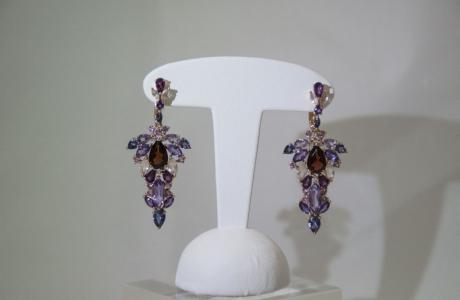 Boucles d'oreilles multi-pierres et or rose