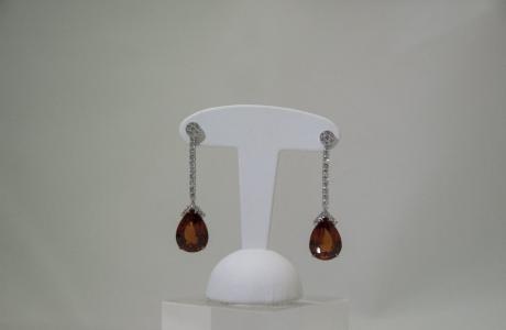 Boucles d'oreilles diamants et Grenats Mandarins (Spessartites)